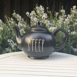 "Rae Dunn black ""Steep"" teapot"